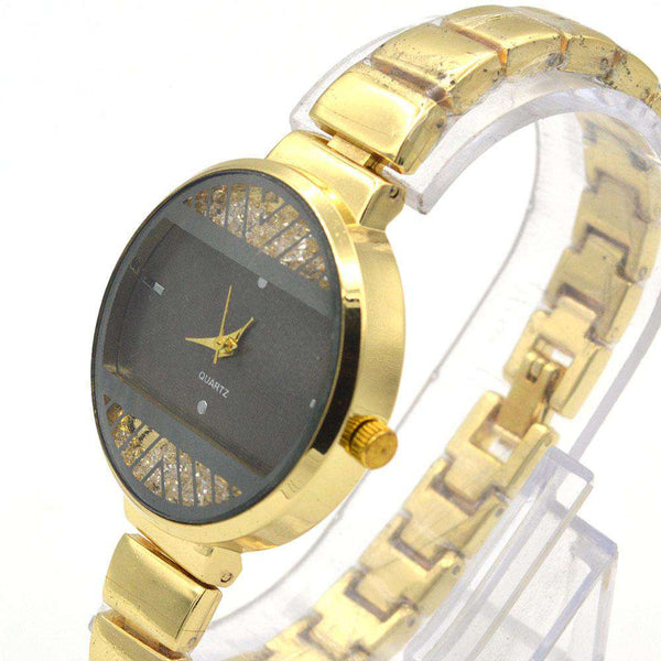 Golden Strap & Black Dial Watch For Girls