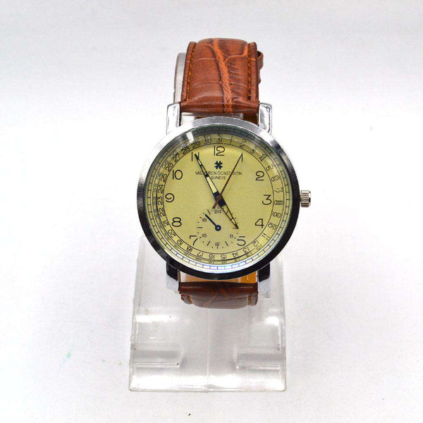 Stylish Brown Leather Strap Watch