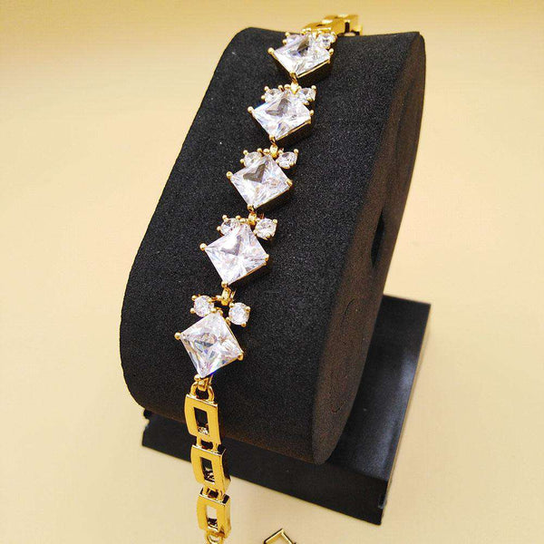 Golden Color White Crystal Bracelet