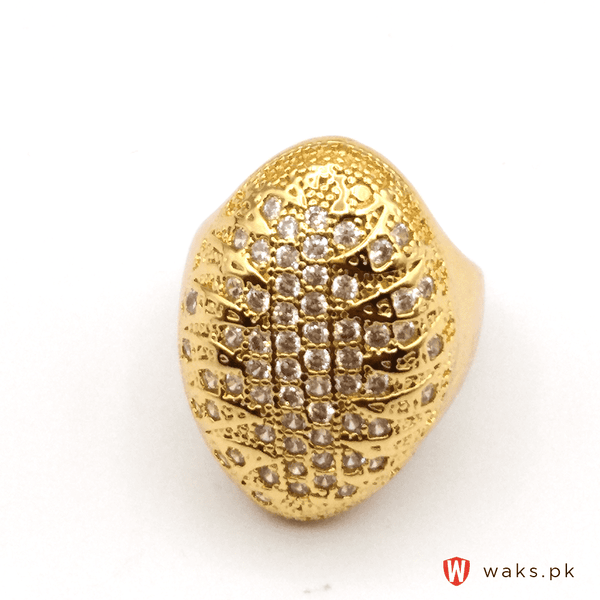 Stylish Gold Plated Oval Ring