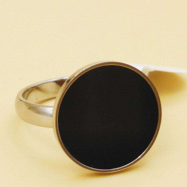 Black Round Shape Ring For Men