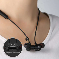 RB-S7 Wireless Bluetooth Sports Running Headset Magnetic Design HIFI Earphone Wireless - Black