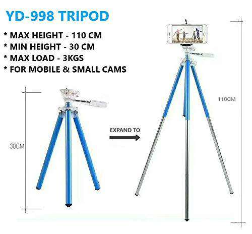 Techlife Aluminium Tripod for Mobile Phones, Digital, DSLR, Action Cameras -Max Height 3.6 ft -Load 3 kgs (Blue)
