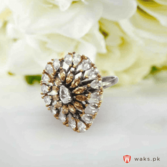 Tree Style White zircon stone Ring