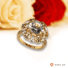 Stylish White Stone Flower Ring