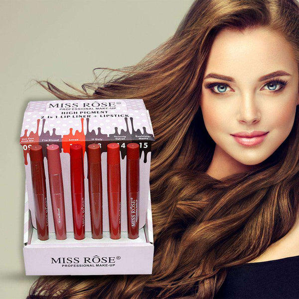 Miss Rose 2 IN 1 lip liner And LiP Stick (36 pieces)