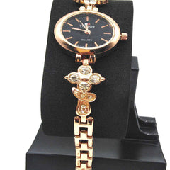 Classy Black Dial Chain Watch For Girls