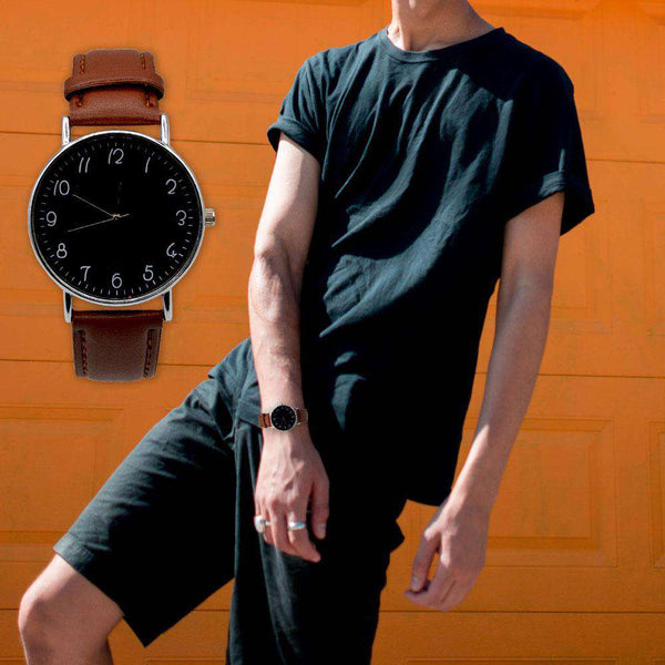 Black Dial Brown Strap Watch