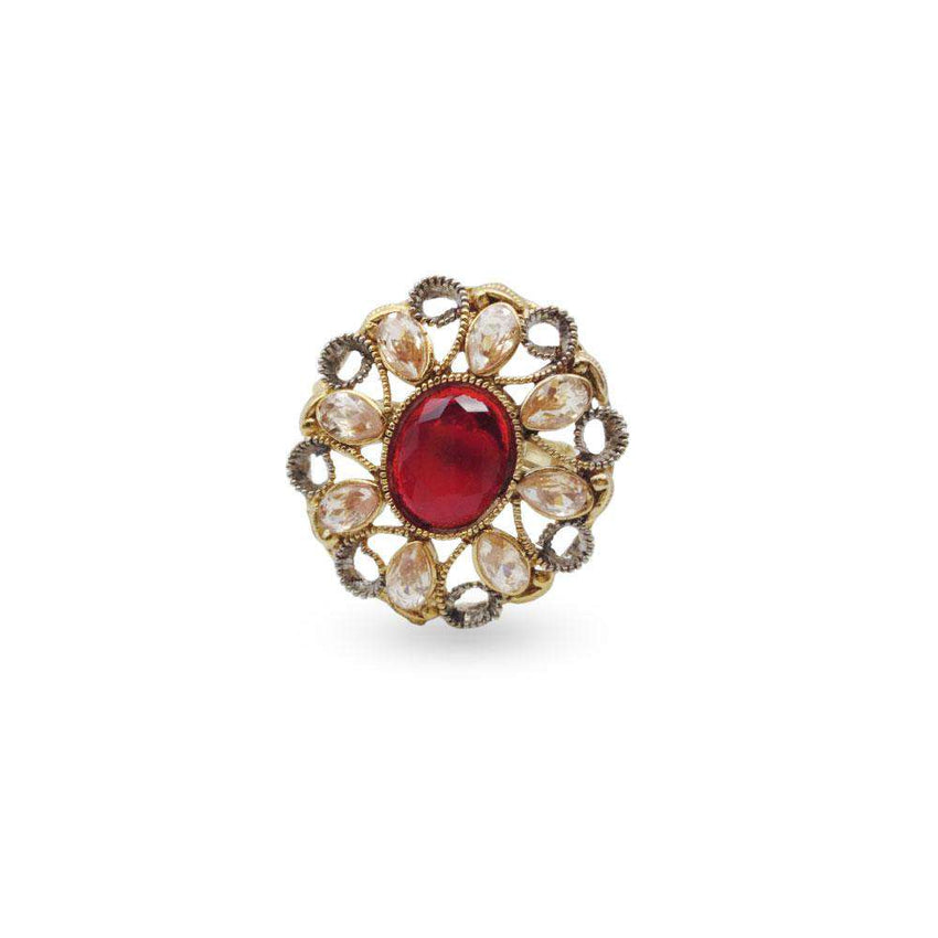 Red Zircon Golden Color Ring