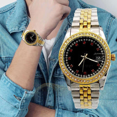 Silver And Golden Strap watch