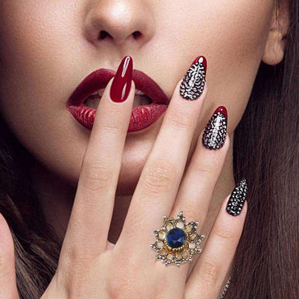 Attractive Black Stone Ring For Girls