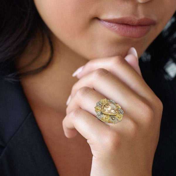 Beautiful Gold Stone Ring For Girls