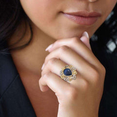 Emerald Stone Gold Ring For Girls