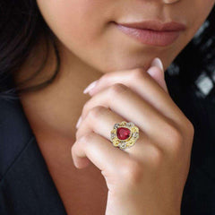 Red Stone Gold Ring For Girls