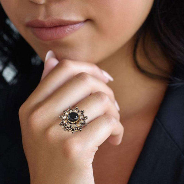 Black Stone Gold Ring For Girls