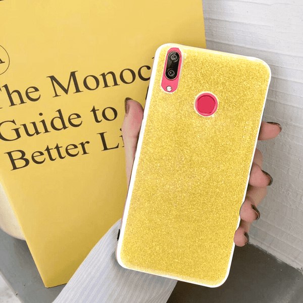 Glittery Yellow Cover For Y7 Prime 2019