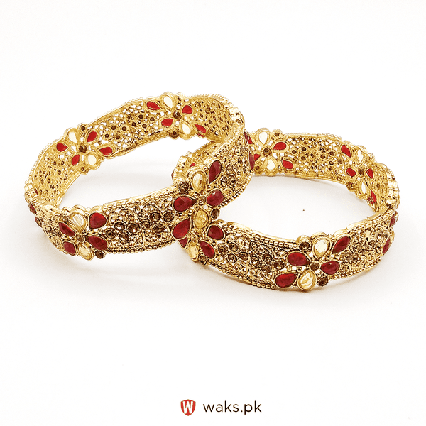 Red Zircon Stone Bangle Set of 2