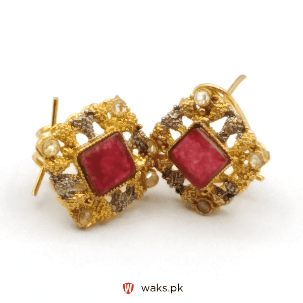 Red Zircon Stone Square Earrings