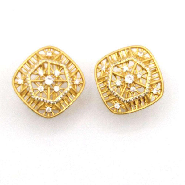 Vintage Gold Silver Crystal Earrings