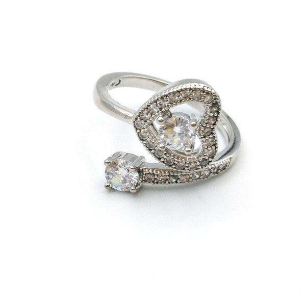 Stylish Heart Shape Silver Ring