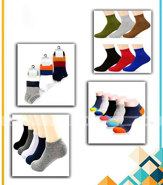Pack of 12 - Multicolored Cotton Branded Ankle Socks for Men's