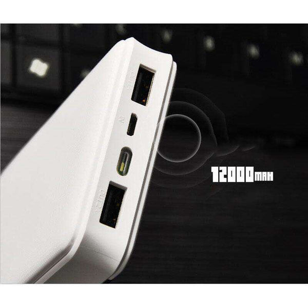 White 12000 MAH Power Bank