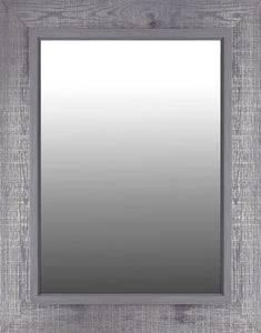 28.25X36.25 GREY CROSS HATCH MIRROR (REAL WOOD WITH SILVER)