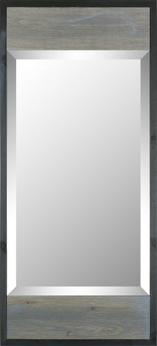 17.5X38.75 GRAY WOOD W BLACK TRIM MODERN MIRR (BEVEL MIRROR)