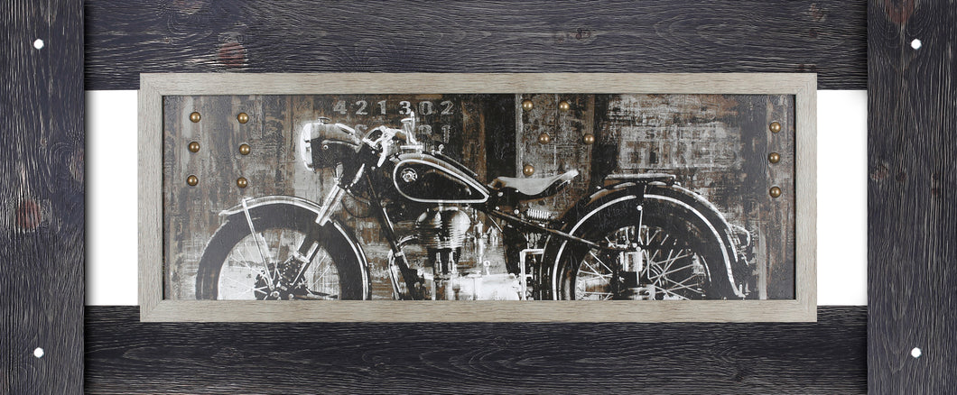 22X54 VINTAGE MOTORCYCLE (FRAMED STUCCO WITH METAL ELEMENTS)