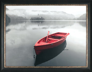 35.5X45.5 RED BOAT BY TOWN (FRAMED LAMINATE)