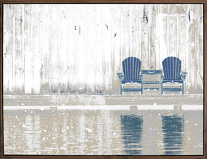 32.25X42.25 BLUE CHAIRS ACRYLIC PAINTING