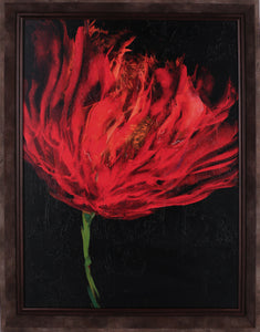 19.5X25.5 RED FLORAL II (FRAMED STUCCO)