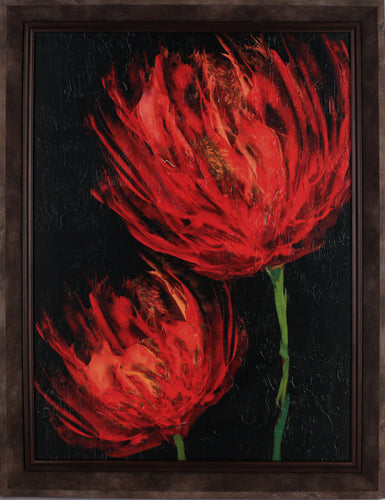 19.5X25.5 RED FLOWER I (FRAMED STUCCO)