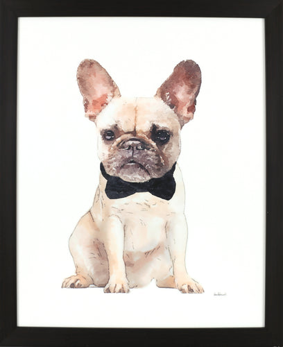18X22 DOG AND BOW (FRAMED LAMINATE)
