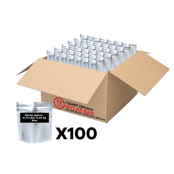 1 Quart Mylar Bag with Ziplock Case of 100- 5.0 Mil: 15.24cm x 20.32cm x 0.8cm (6 inches x 8 inches x 2 inches)