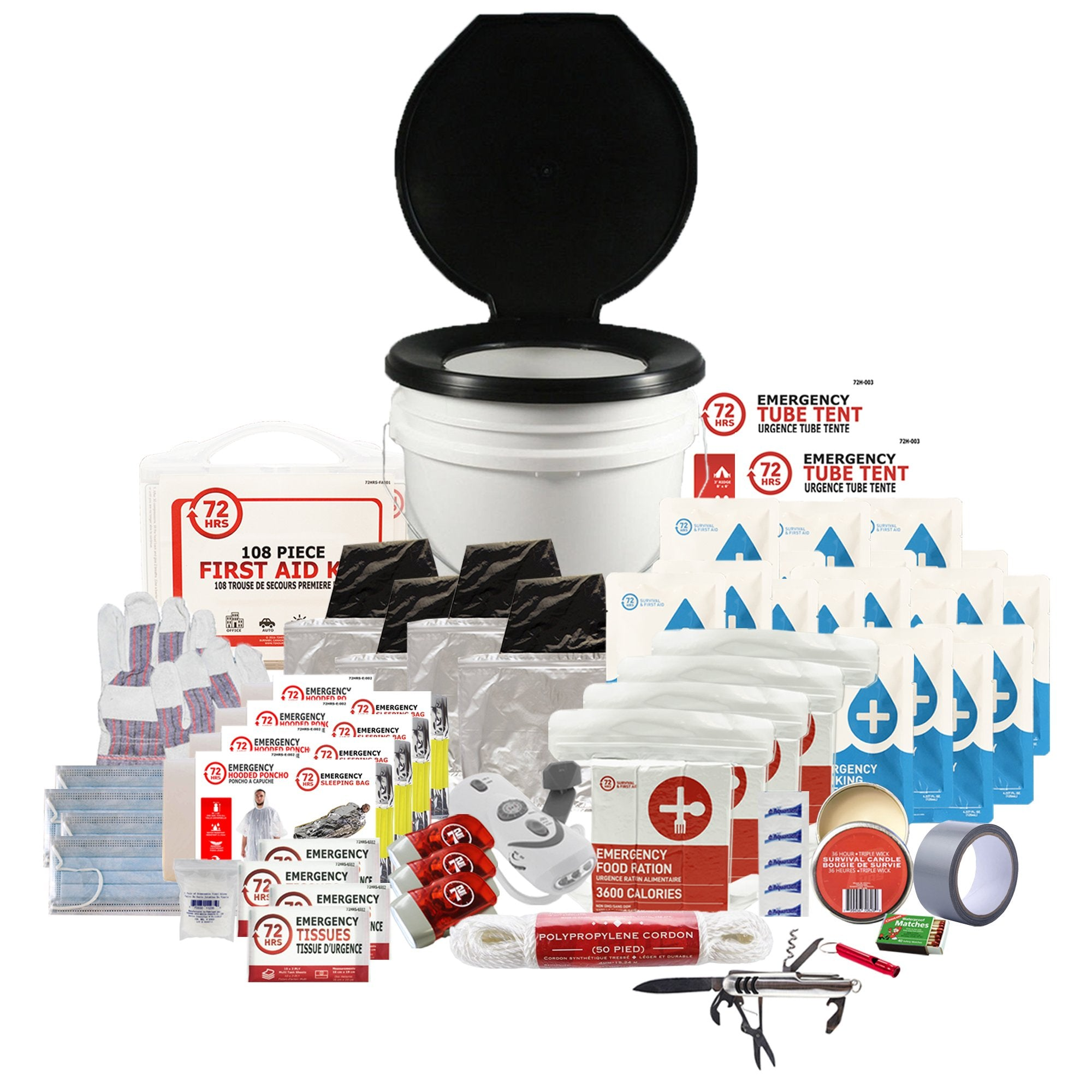 4 Person 72HRS Deluxe Toilet - Emergency Survival Kit