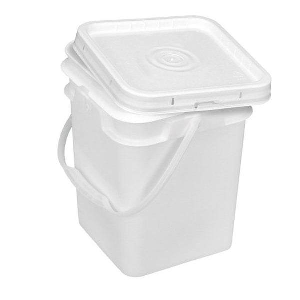 4 Gallon Square Bucket with Snap on Lid - Food Grade, White
