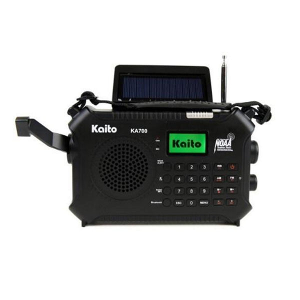 Kaito KA700 Bluetooth Emergency Hand Crank Dynamo & Solar Powered AM FM Weather Band Radio With Recorder and MP3 Player & More