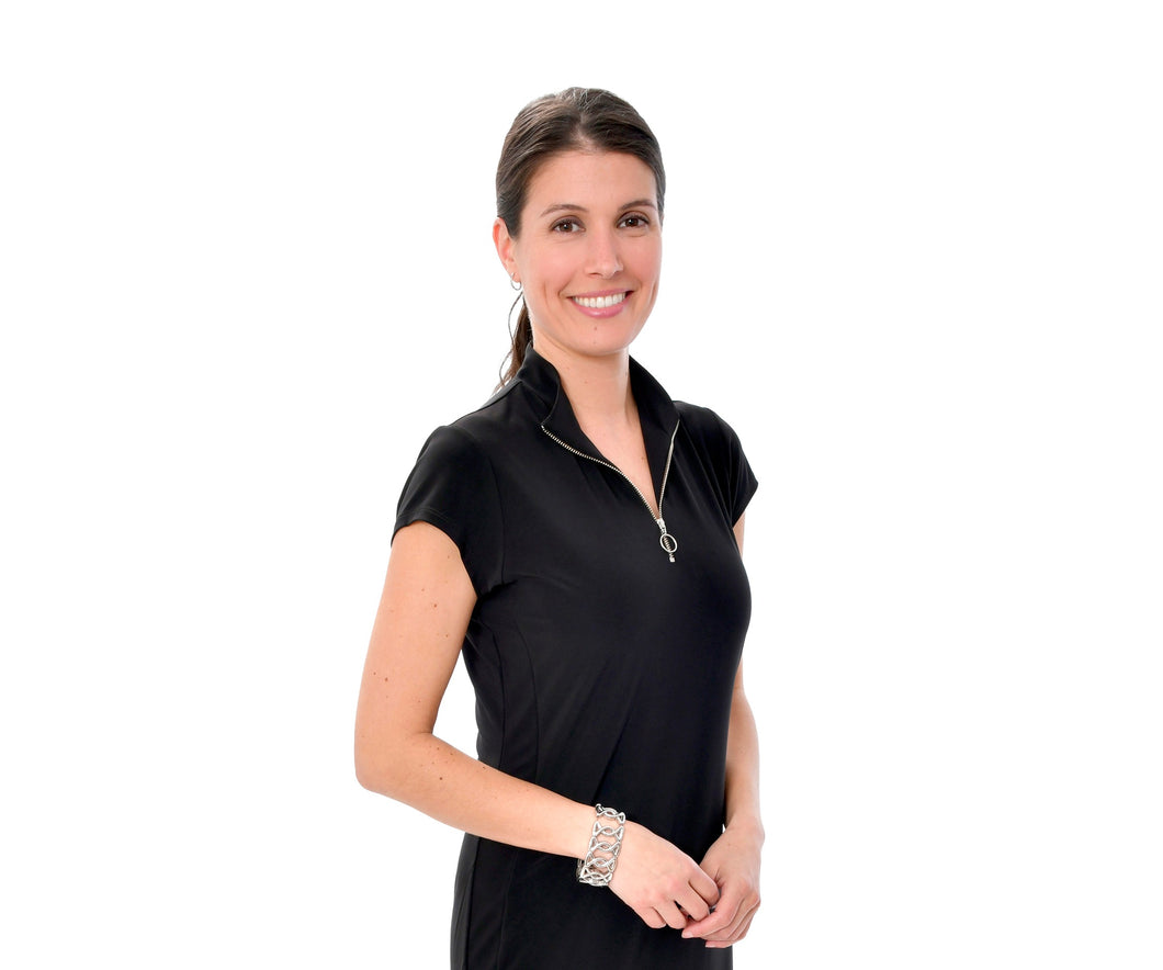 Women's Black Zip Up Polo