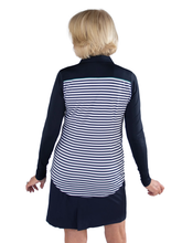 Load image into Gallery viewer, Women's Appletini Stripe Long Sleeve Pointed Yoke Polo