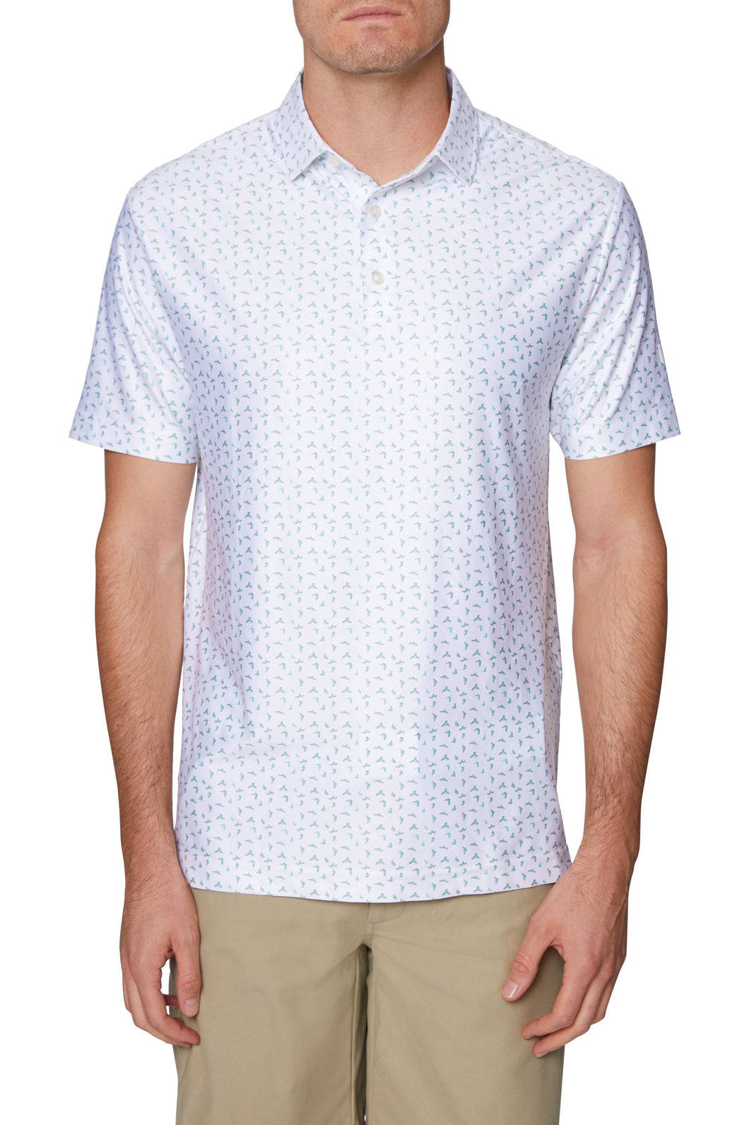 Men's 3 Button Birdie Print Polo