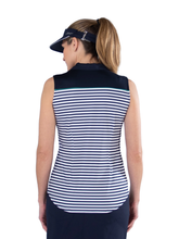 Load image into Gallery viewer, Women's Appletini Stripe Pointed Yoke Sleeveless Polo