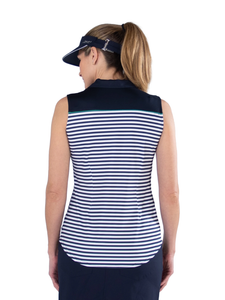 Women's Appletini Stripe Pointed Yoke Sleeveless Polo