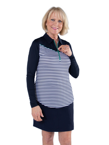 Women's Appletini Stripe Long Sleeve Pointed Yoke Polo