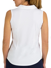 Load image into Gallery viewer, Women's White Scallop Sleeveless Polo