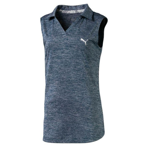 JUNIOR GIRLS SLEEVELESS HEATHER GOLF POLO