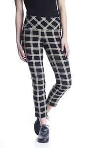 Women's Gold Plaid Masters Ankle Pant
