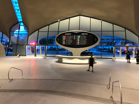 TWA Hotel at JFK Airport and the Solari flip departure board.
