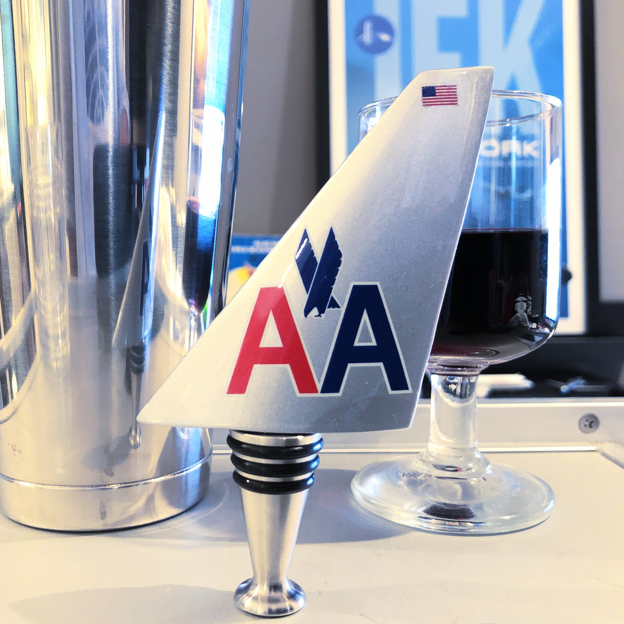American Airlines Silver Tail Wine Bottle Stopper
