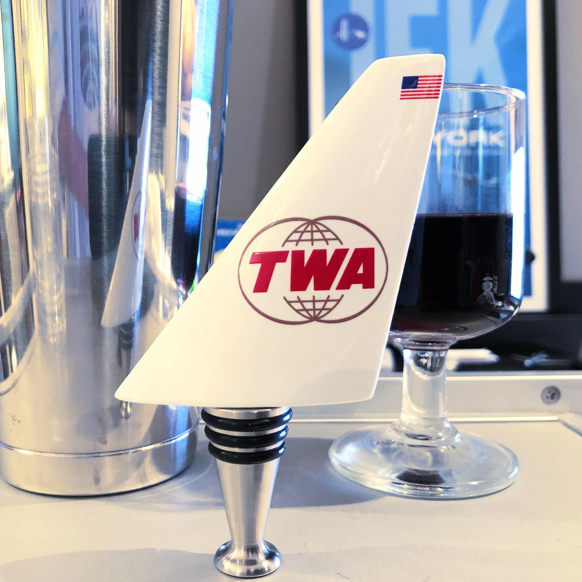 Trans World Airlines TWA Double Globe Airline Tail Wine Bottle Stopper